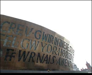 The side of the Wales Millennium Centre with Pierhead building in background (Stephen Jones)