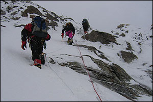 Climbers on K2 in 2004