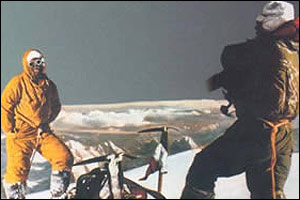 Lino Lacedelli and Achille Compagnoni on the summit of K2
