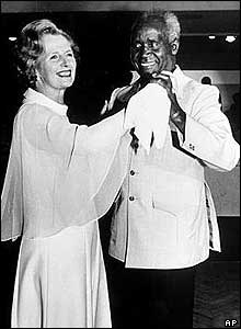Margaret Thatcher dancing with Kenneth Kaunda in 1979