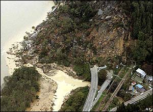 Mudslide in Japan after the earthquake