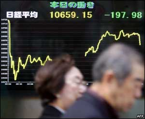 People walk past an electronic quotation board flashing the Nikkei index, 25/10/04