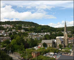 Pantygraigwen Pontypridd with St Catherine's Church, sent in by Mal