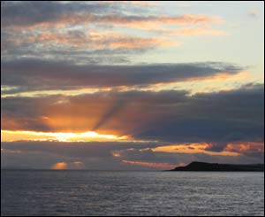 Sunset in the Bristol Channel, with Sully Island in the foreground (Christopher Ware)