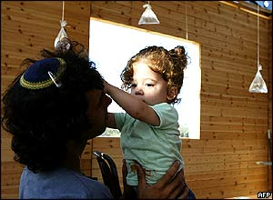 Gaza settler with child, Tiferet Israel