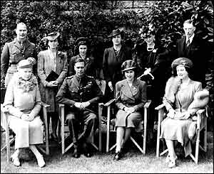 Alice (2nd from left, back row) with the Royal Family in 1944