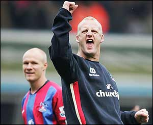 Iain Dowie celebrates Crystal Palace's win at Birmingham