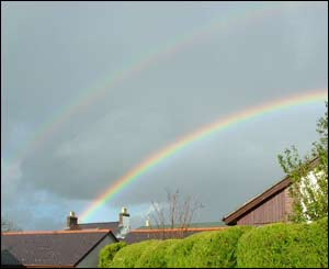 Two rainbows above Y Felinheli, North Wales, sent in by Meilyr Gwilym
