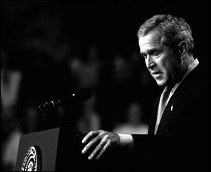 President Bush addresses a rally in Saginaw, Michigan