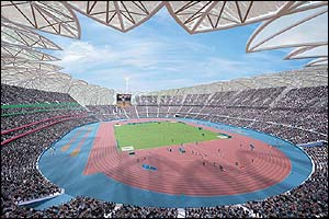 This is the first glimpse of what the Olympics might look like if London wins the bid to host the games in 2012. This is the athletics stadium where the opening and closing ceremonies would take place