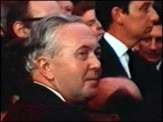 Harold Wilson turning to face the camera after being hit by an egg
