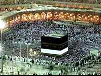 The Kaaba - Muslim pilgrims come to pray at Islam's holiest shrine
