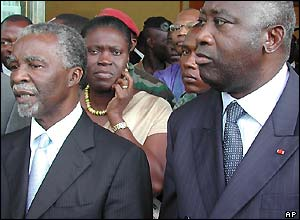 South African President Thabo Mbeki, left, Simone Gbagbo, middle, and Ivory Coast President Laurent Gbagbo
