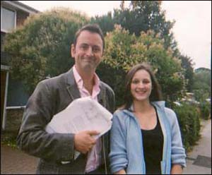 Sarah is taking part in TV's Fat Nation, the Big Challenge. Here she is with presenter Matt Allwright.
