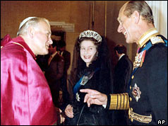 The Queen and the Duke of Edinburgh meet the Pope