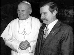 Pope John Paul II and Lech Walesa
