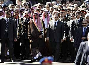 Arab leaders follow coffin in Cairo