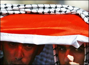 Two men with a Palestinian flag