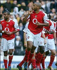 Arsenal's Thierry Henry celebrates his goal at White Hart Lane
