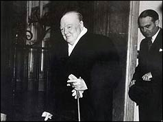 Winston Churchill outside 10 Downing Street