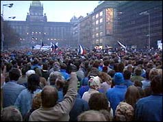 Demonstrators in Prague