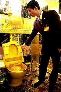 Bling! Go to the loo in style on this 100% solid gold toilet at the 3D-Gold jewellery store in Hong Kong