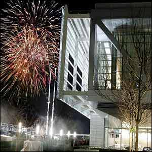 A firework display to celebrate the library's opening.