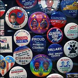 Campaign buttons from President Clinton's two runs for the White House.