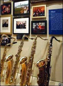 Saxophones and Clinton family photos