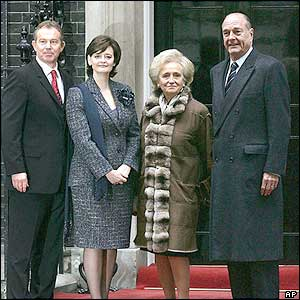 Mr and Mrs Blair, and Mr and Mrs Chirac on the steps of 10 Downing Street
