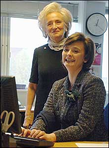 Mrs Chirac and Mrs Blair at Breast Cancer Care's London head office