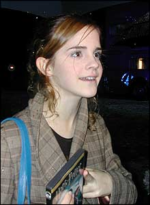 Emma Watson (Hermione) chats happily to the world's media