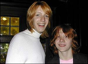 Brothers on-screen and mates off - Oliver Phelps and Rupert Grint have a laugh together