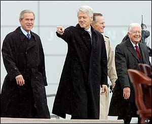US Presidents George W Bush, Bill Clinton, George H Bush and Jimmy Carter