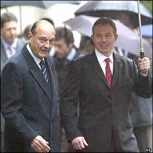 Jacques Chirac and Tony Blair after watching the Guard of Honour