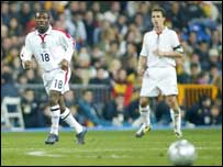 England's Shaun Wright-Phillips in action against Spain