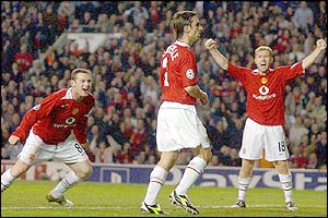 Gary Neville scores against Lyon