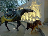 An Alsatian dog sniffs around the new animal memorial