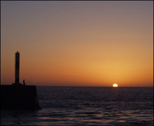 Sunset at Aberystwyth harbour, taken by Steve Livingstone from Hinckley.