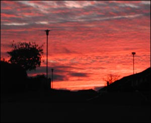 Nine-year-old Eve Woodhouse sent in this picture of a red sunset in Newtown, Powys