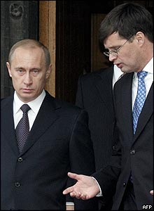 Vladimir Putin with Dutch Prime Minister Jan Peter Balkenende