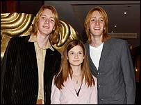 James and Oliver Phelps with Bonnie Wright