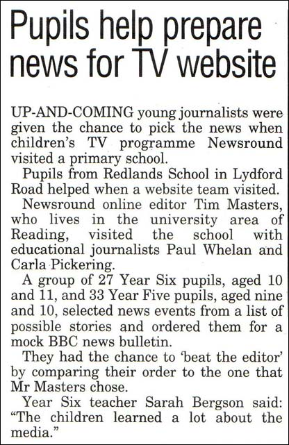 Article in the Reading Post, published on the 23 March 2005