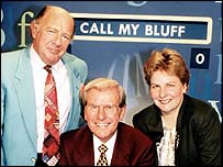 Call My Bluff. Referee Bob Holness with team captains Sandi Toksvig and Alan Coren .