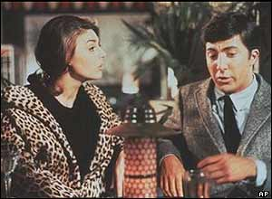 Anne Bancroft and Dustin Hoffman in a scene from The Graduate