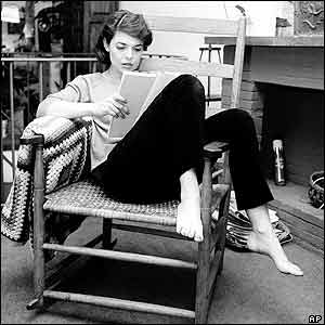 Anne Bancroft studies a script in her New York apartment. Picture: June 1963