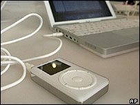 An MP3 player and laptop