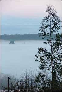 A thick blanket of fog over the Menai Straits from Y Felinheli (Meilyr Gwilym)