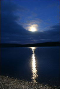 Full moon at Llyn Brenig, near Cerrigydrudion, north Wales, sent in by Eddie Parsons