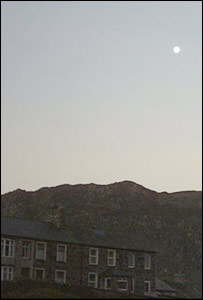 Nicholas Ginniver from Blaenau Ffestiniog, Gwynedd took this shot of a full moon above the Moelwyn Mountains
